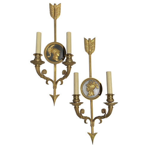 Pair of 19th Century Neoclassical Style 2 Light Sconces