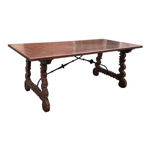 19th Century Spanish Walnut and Wrought Iron Trestle Table