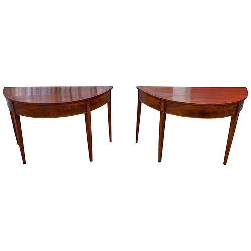 Great Pair of 19th Century Mahogany Demilune Consoles