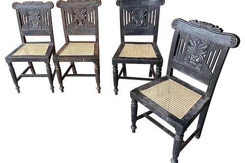 Set of Four 19th Century Anglo-Indian Mahogany Side Chairs from Goa