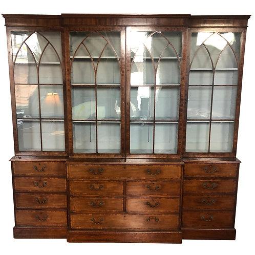 18th-19th Century Georgian Mahogany Breakfront Bookcase