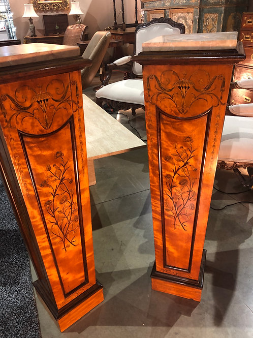 English inlaid satinwood pedestals with marble tops