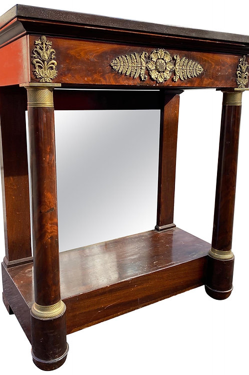 Petite Mahogany French Empire Stone Top Console with Great Bronze Mounts