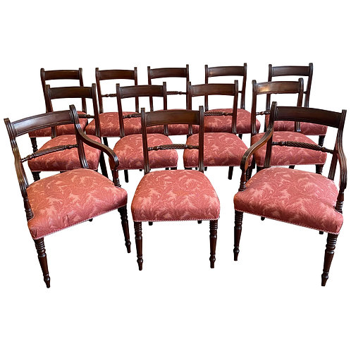 Set of 12 Period 19th Century English Regency Mahogany Dining Chairs