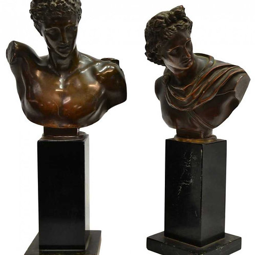 Apolo and Hermes bookcase figures