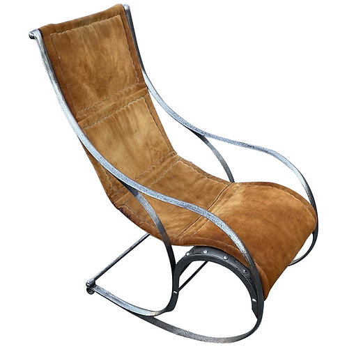 Mid-Century Modern Stainless Steel and Suede Rocking Chair by Maison Jansen
