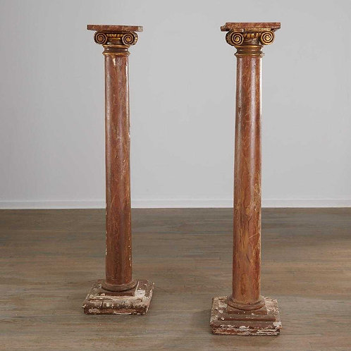 Pair of Italian Marbelized Columns
