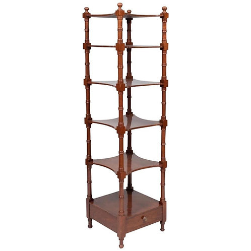 19th Century English Mahogany 6-Tier Étagère
