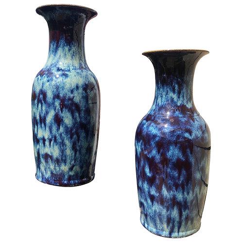 Large Pair of Chinese Flambé Glazed Porcelain Vases