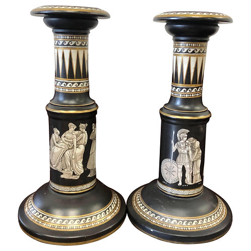 Pair of Black and White Prattware Candlesticks