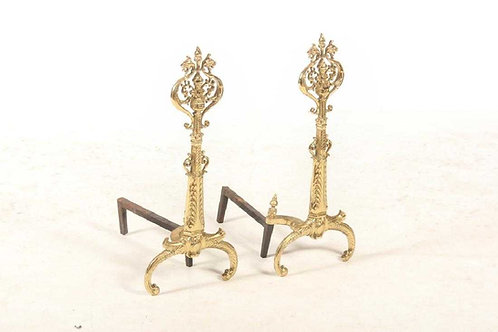 Rococo style brass andirons