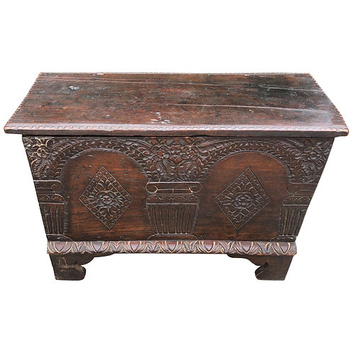 Diminutive 18th Century American Oak Dowry Chest