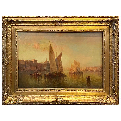 Framed Venetian Painting Signed C. Muller for Carl Muller