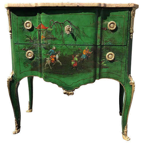 19th Century Green Chinoiserie Marble Top Commode