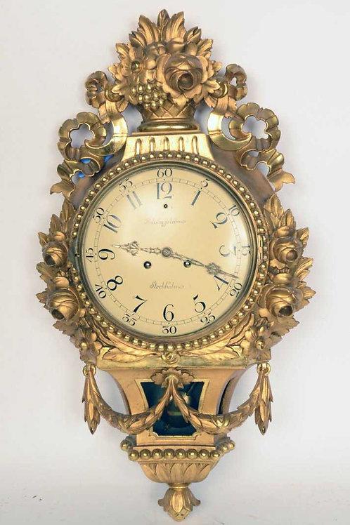 Swedish Giltwood Cartel Clock