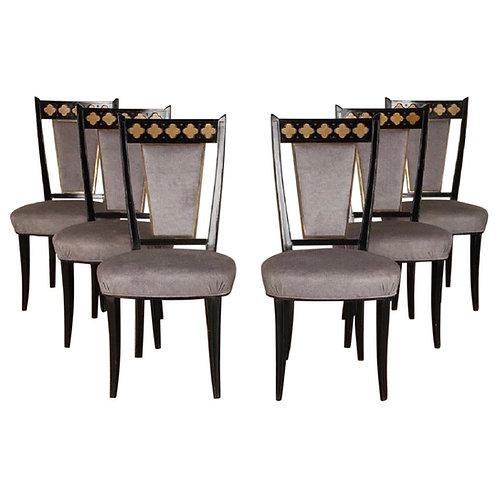 Set of 6 Midcentury Ebonized Dining Chairs with Bronzed Decoration