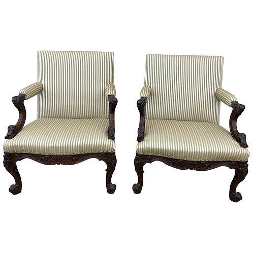 Fine Pair of Early 19th Century Georgian Mahogany Gainsborough Chairs
