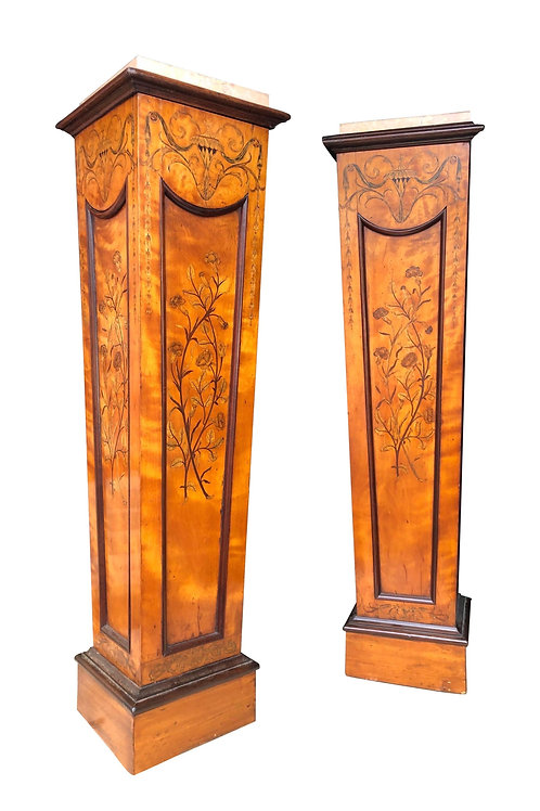 18th Century Satinwood Pedestals with Marble Tops