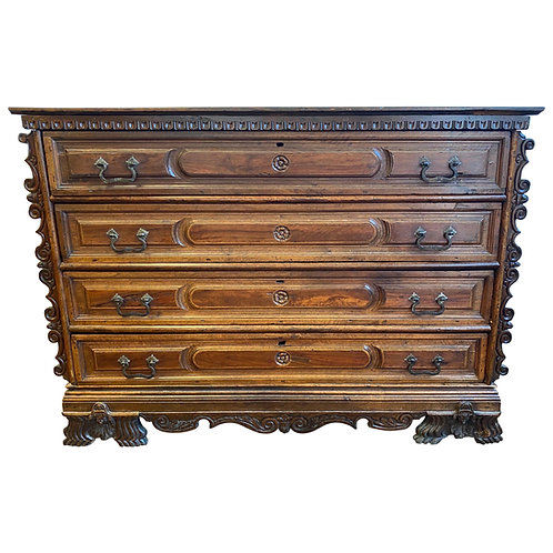 Impressive 17th-Early 18th Century Italian Walnut 4-Drawer Commode