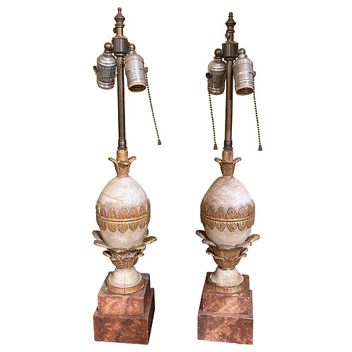Pair of Italian Polychrome Carved Wood Lamps