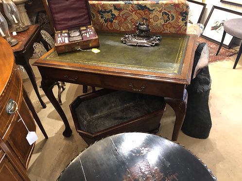 English leather top writing desk
