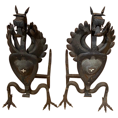 Pair of Large Scale Wrought Iron Dragon Andirons, Possibly by Samuel Yellin