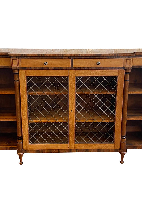 Very Fine 19th Century English Regency Satinwood Bookcase Console