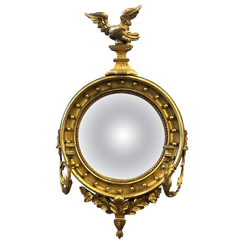 19th Century English Giltwood Bullseye Mirror with Girandola arms