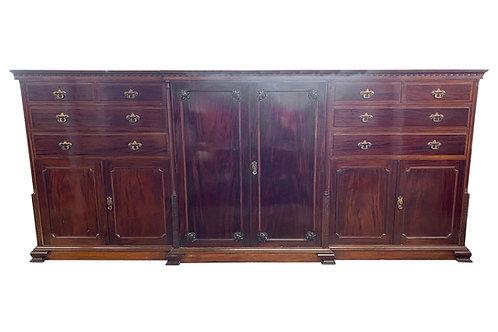 Grand Scale 19th Century Chippendale Style English Mahogany Wardrobe Cabinet