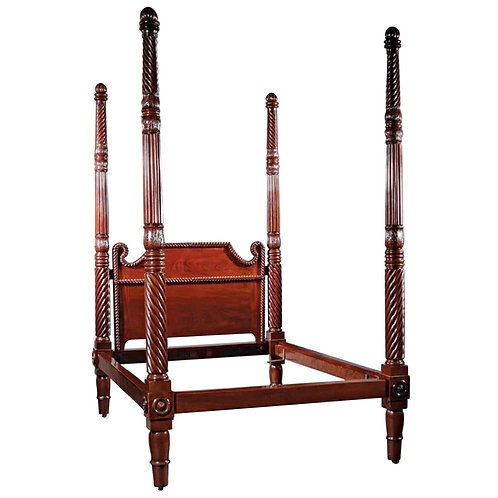 19th Century West Indies Mahogany 4 Post Bed
