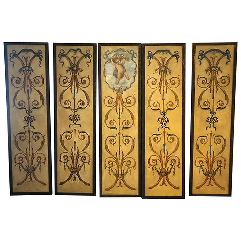 Set of 5 Early 20th Century Continental Hand Painted Neoclassical Style Panels