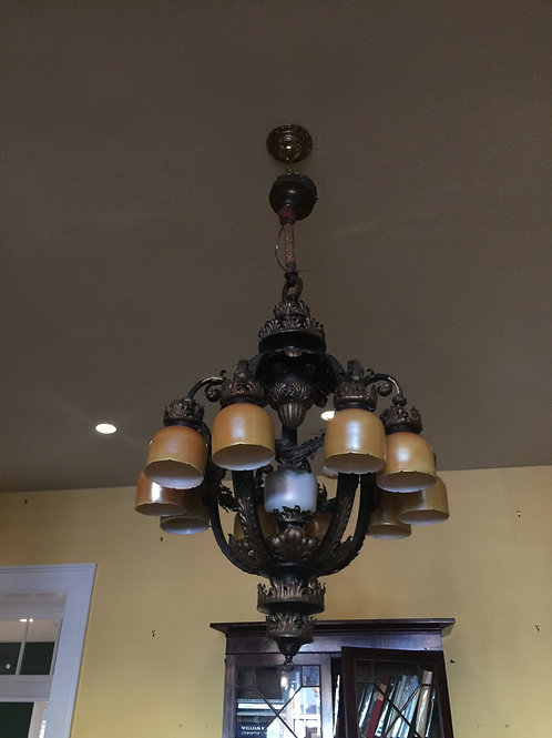 Caldwell chandelier with Quezal shades