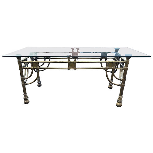 Very Good Quality Midcentury Brass and Glass Table
