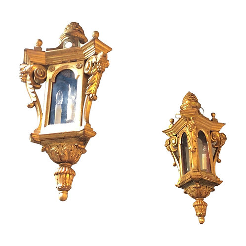 Pair of 19th Century Italian Carved Giltwood Lanters