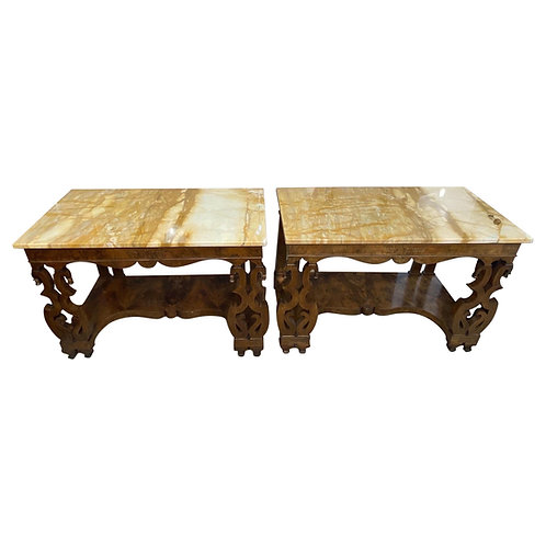 Pair of 19th Century Continental Inlaid Walnut Consoles with Yellow Onyx Tops