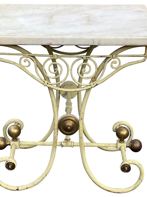 19th Century French Marble-Top Iron and Brass Pastry Table