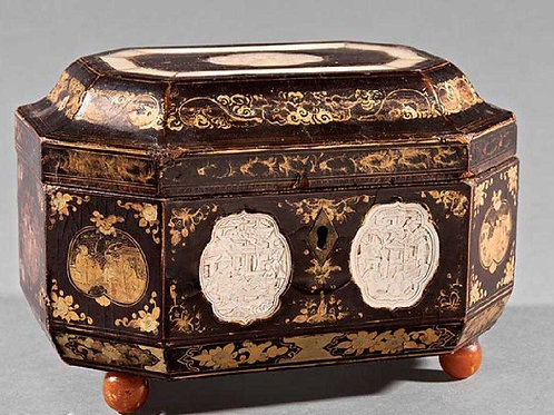 Lacquered Tea Caddy with Mother of Pearl Inlay