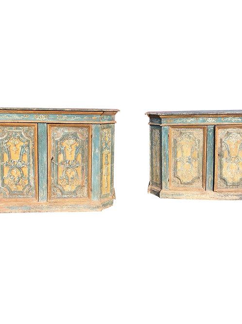 Rare Pair of 18th Century Painted Italian Credenzas.