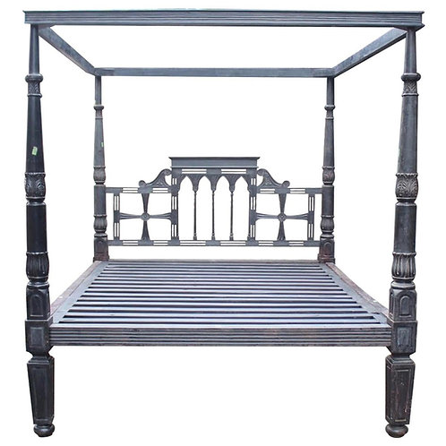 Incredible 19th Century British Colonial Rosewood King sized Bed