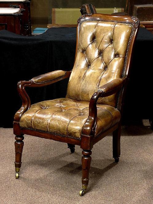 English Regency leather armchair