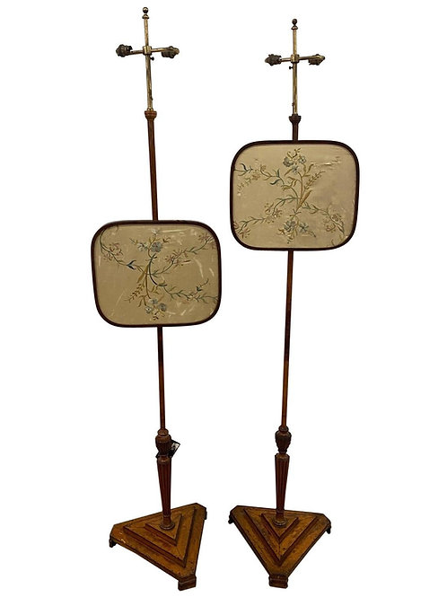 Pair of 18th-19th Century English Chippendale Pole Screens Made into Floor Lamps