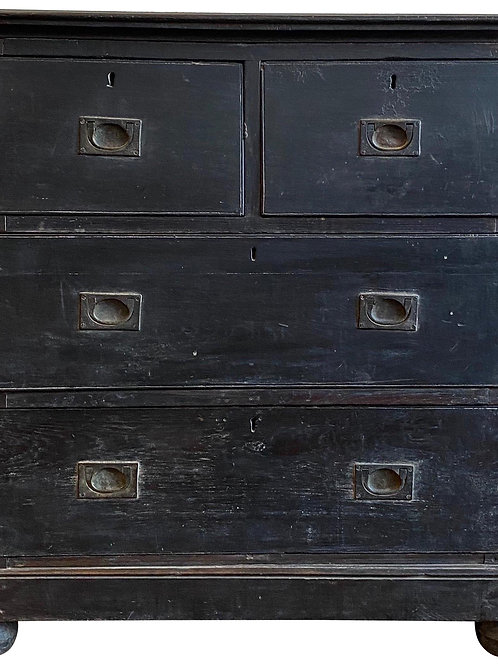 Petite Ebonized 19th Century British Colonial Brass Bound Campaign Chest
