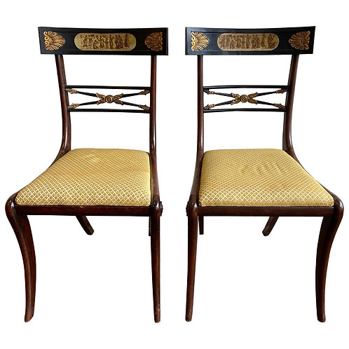 19th Century English Regency Faux Rosewood Chairs with Neoclassical Scenes, Pair