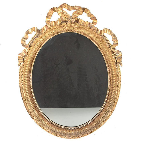 19th Century French Gold Gilt Mirror with Ribbons