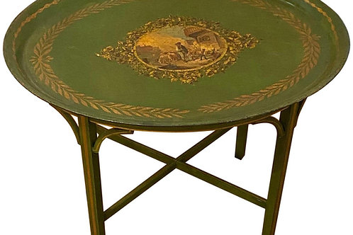 Late 19th Century Tole Tray Mounted as Side Table