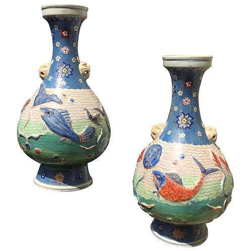 Pair of early 20th Century Chinese Cloisonne Vases with Fish