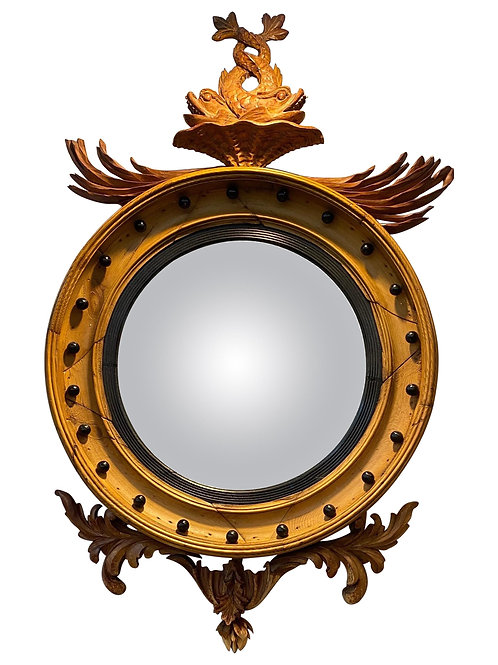 19th Century Stripped Pine Bullseye Mirror with Dolphins and Ebonized Balls