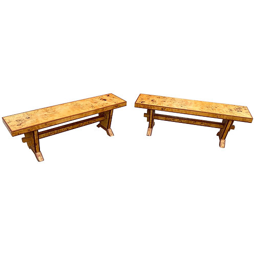 Great Pair of Modern Burl Wood Benches