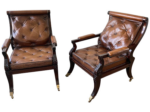 Superb Pair of Regency Style Mahogany and Leather Library Chairs, after Gillows