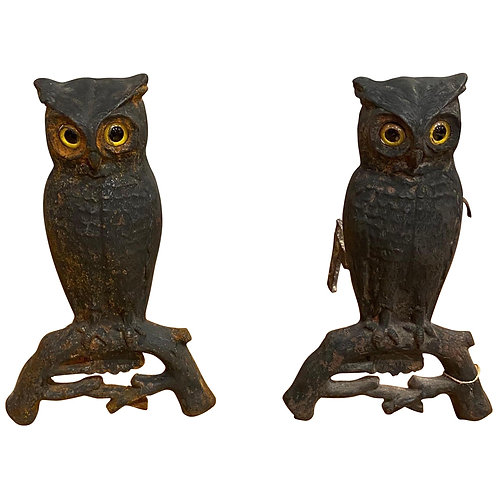 19th Century Cast Iron Owl Andirons with Glass Eyes